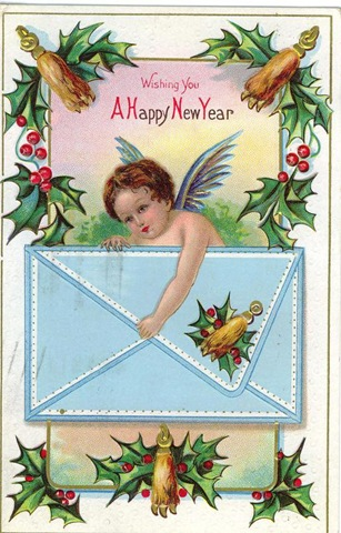 free-vintage-new-year-cards-angel-with-envelope-and-holly