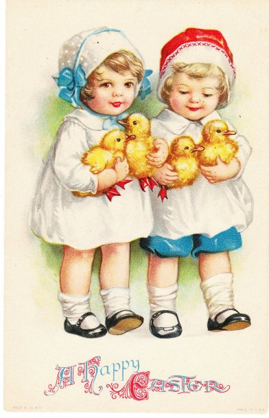vintage children with ducklings